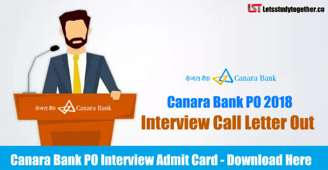 Canara Bank PO Interview Call Letter 2018
