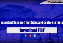 List of Important Research Institutes and centers in India – Download PDF