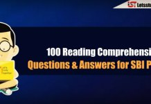 100 Reading Comprehension Questions & Answers for SBI PO 2018