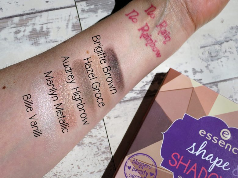 Essence Shape and Shadow Palette Swatches