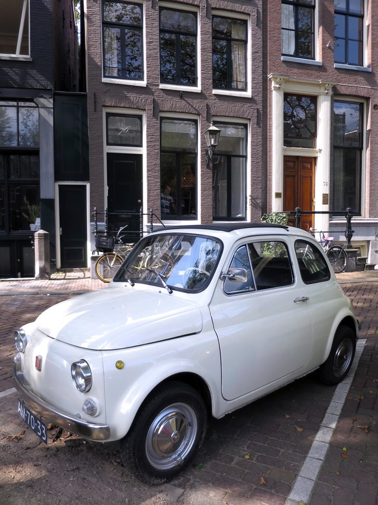 Classic White Fiat 500 in Amsterdam
