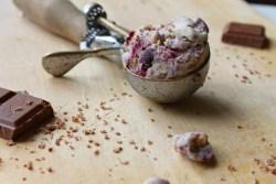 blackcurrant cheesecake ice cream recipe photography