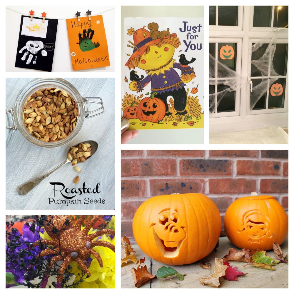 Halloween carving pumpkins, roasted pumpkin seeds, halloween cards, halloween decor love the little things