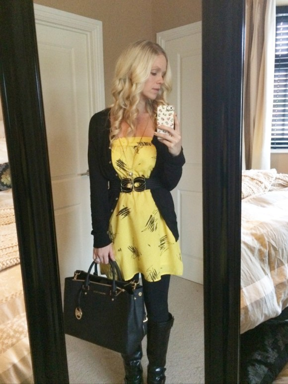 Work clothes Yellow Dress Michael Kors Handbag