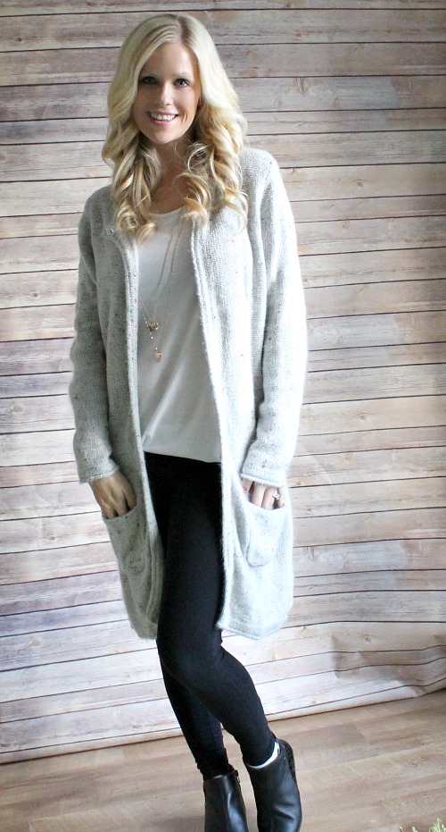 Damart cardigan and winter ankle boots