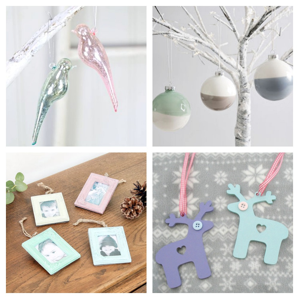 pastel christmas decorations, including reindeers, picture frames and birds