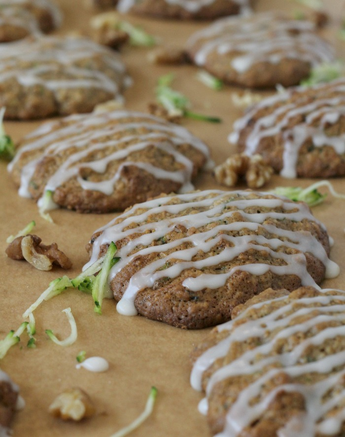 Oatmeal Zucchini Cookies with glaze and walnuts