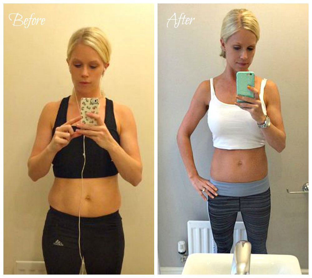 2 photos of a woman side by side. The first shows her body before trying to lose weight, the second shows her after a 30 days no junk food diet