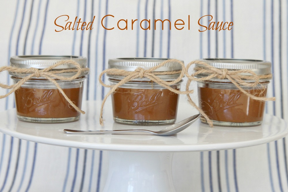 3 jars of caramel sauce tied with twine and sitting in a row