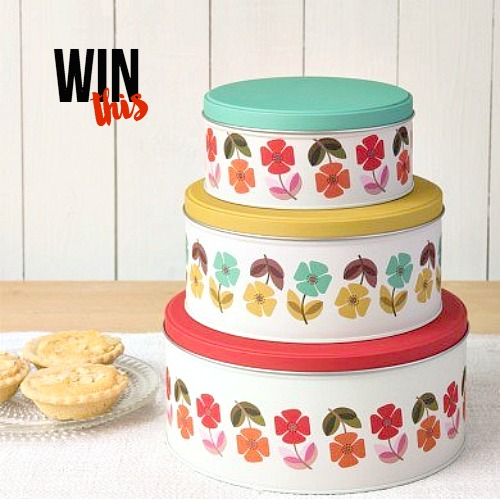Win Set of 3 Mid Century Poppy Cake Tins from DotComGiftShop