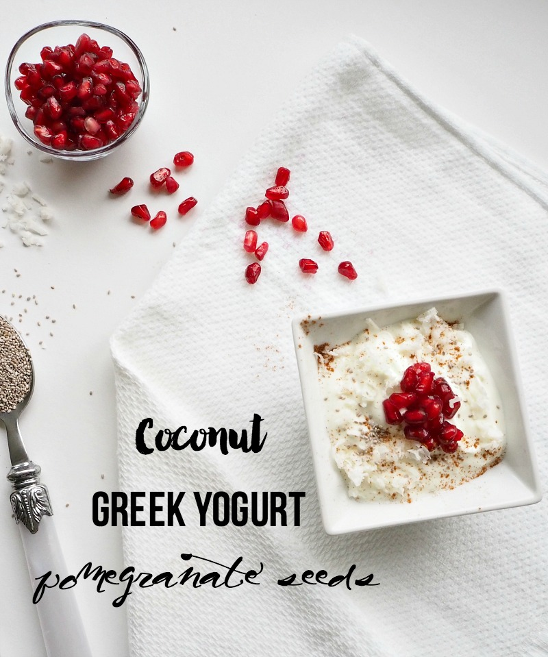 Coconut Greek Yogurt with Pomegranate Seeds
