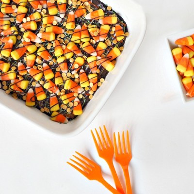 Candy Corn Halloween Brownies