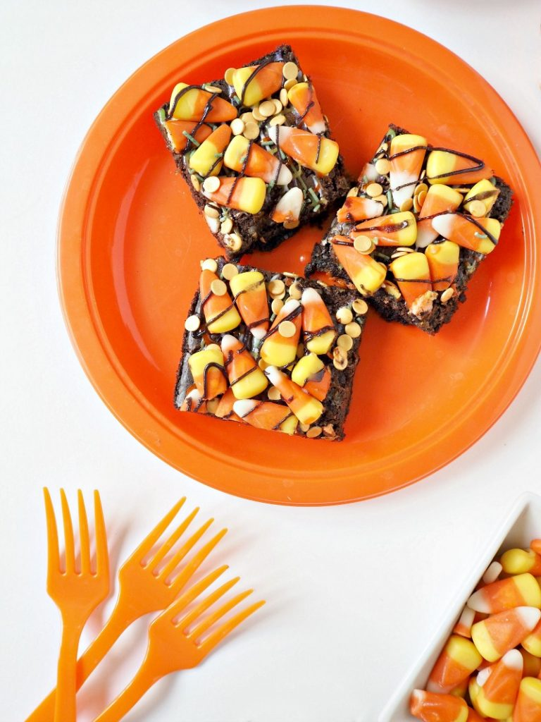 A plate of candy corn chocolate brownies