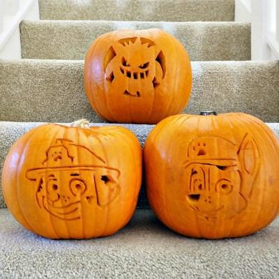 Carving Gengar Pokemon & Paw Patrol Pumpkins