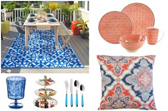 Outdoor Dining Must-Haves for Summer from Wayfair Coral and Blue garden decor