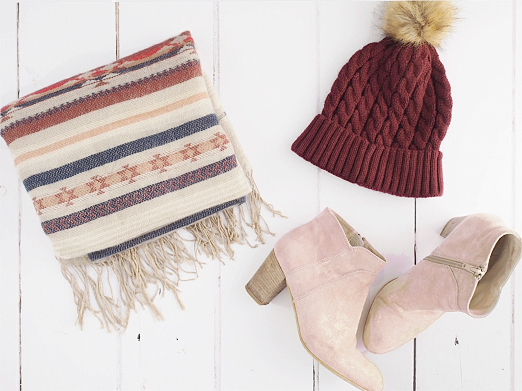 autumn wardrobe bobble hats blanket scarves pink ankle boots