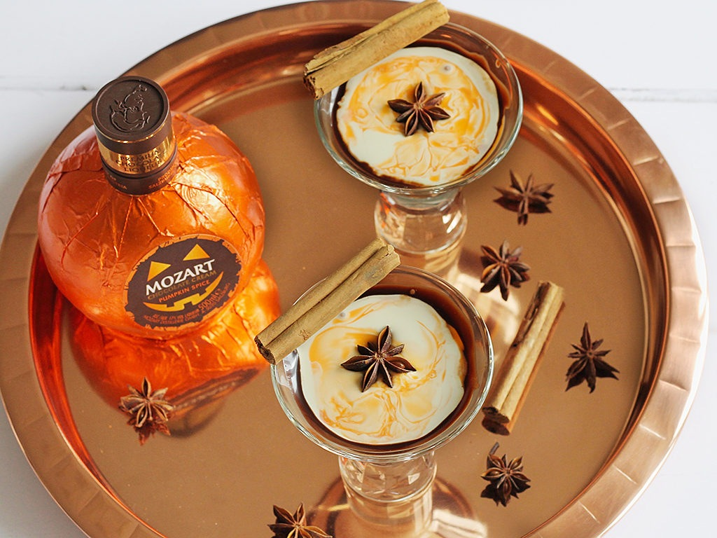 Chocolate Pumpkin Spice Rum martini halloween cocktails