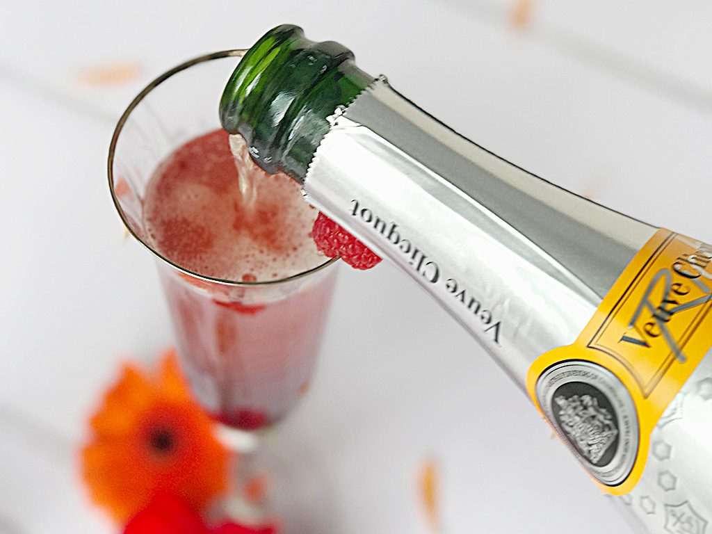 A vampire fizz cocktail being made using Rich Veuve Clicquot
