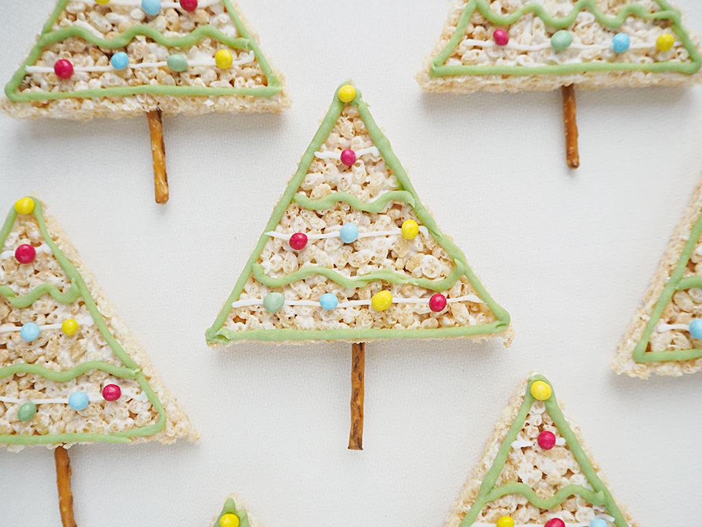 Rice Krispy Treats Christmas Trees with pretzel trunks