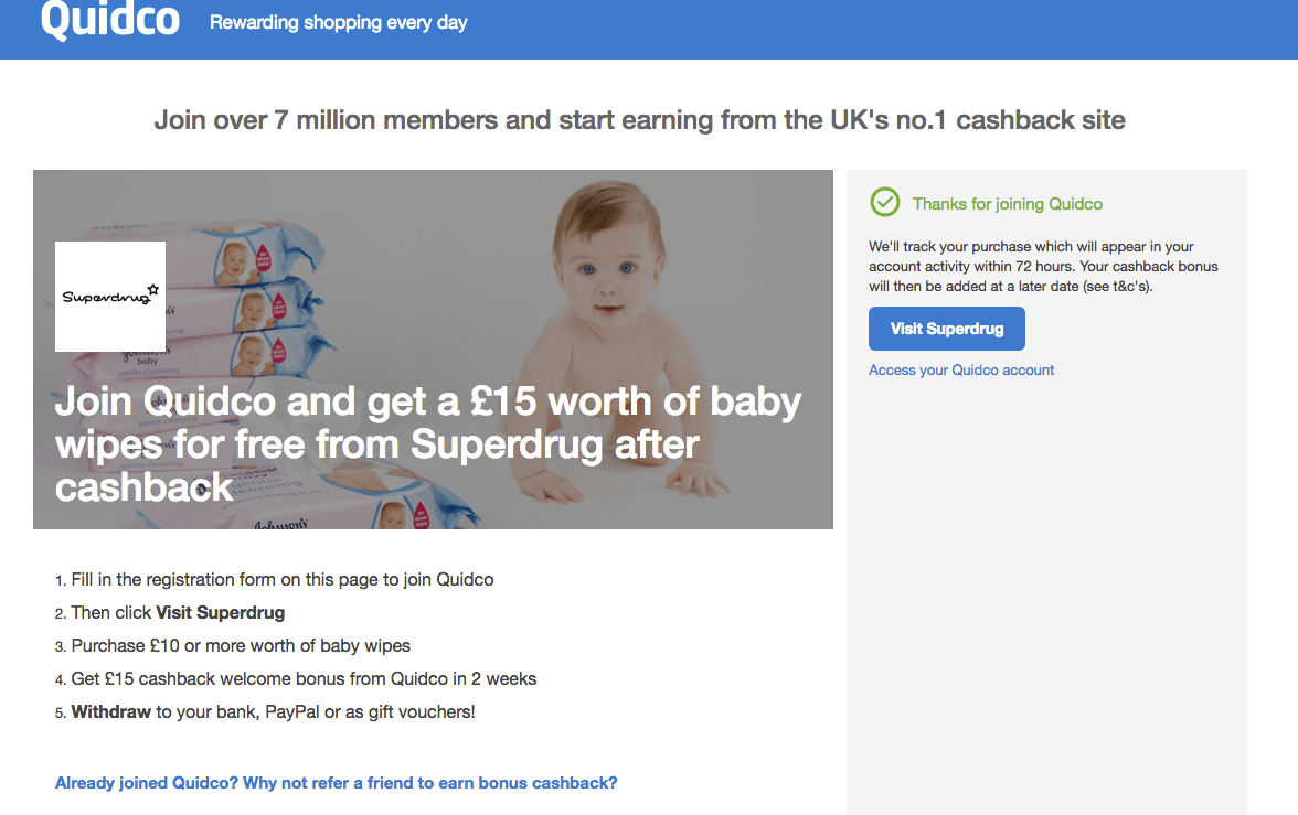 Quidco latest baby offer discount free baby wipes cashback site