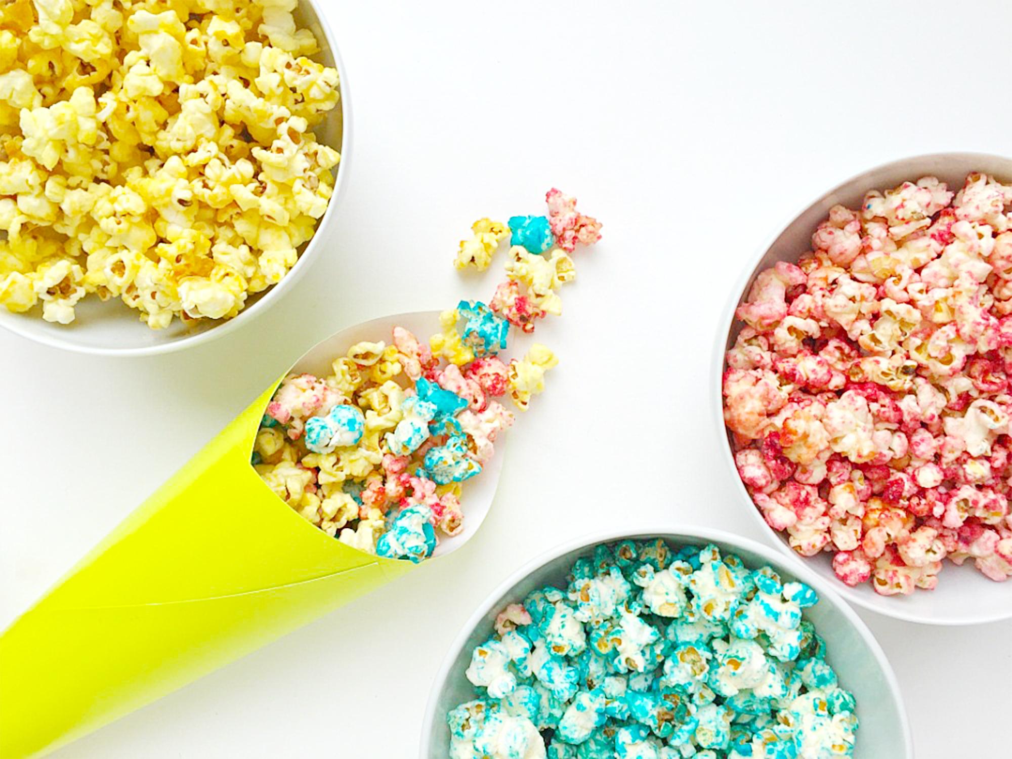 Fruity Rainbow Popcorn Recipe Kid's snacks treats