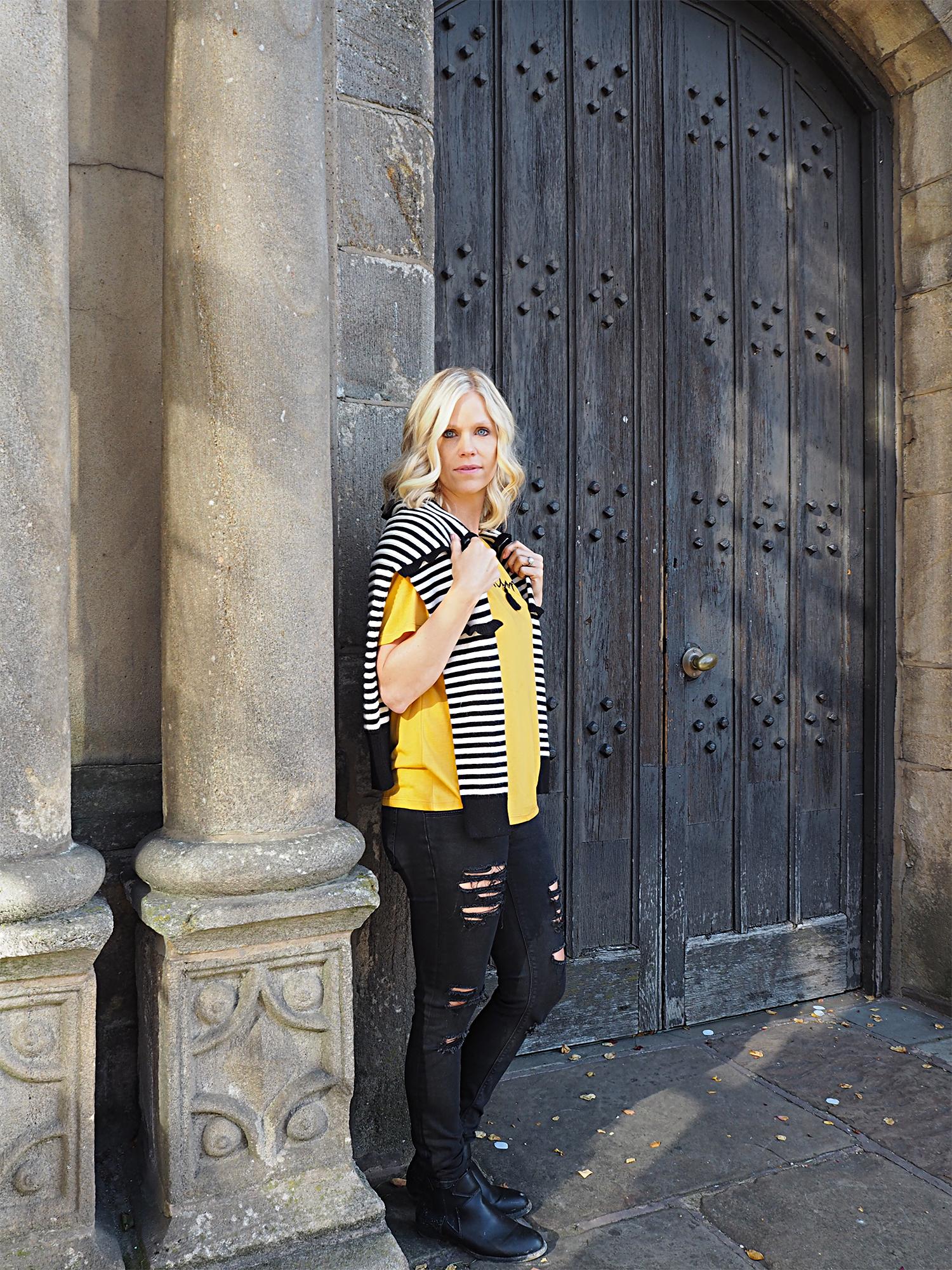 "Matalan fashion Black and White Stripe Knitwear and Mustard ""dream long"" tshirt top"