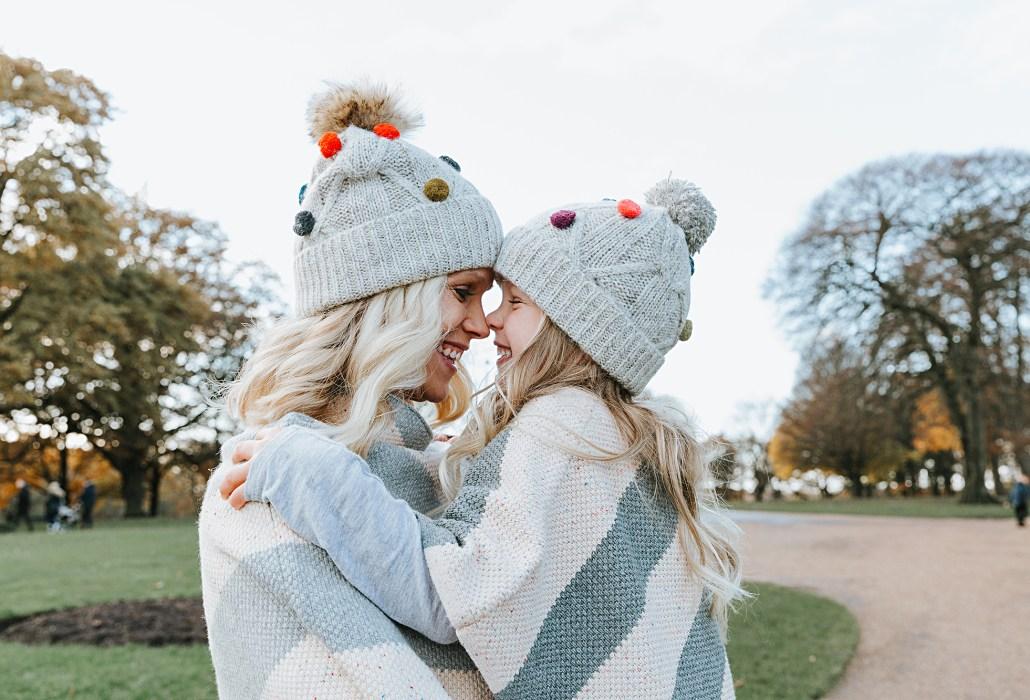 Matching Pom Pom Hats & Ponchos for Winter Fashion
