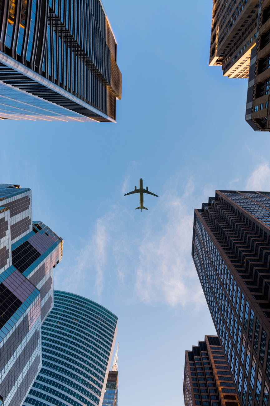 low angle photography of airplane