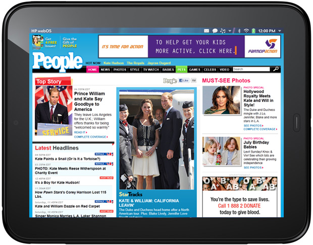 Kate and William People magazine TouchPad screenshot