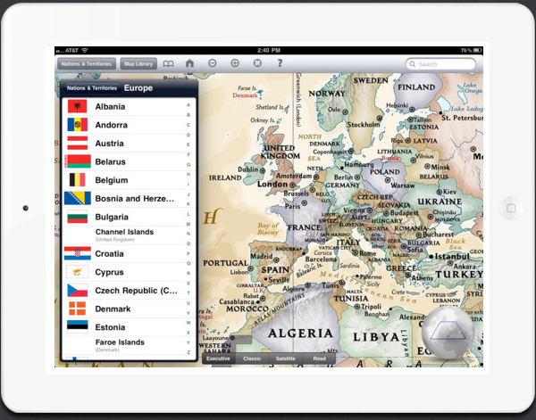 World Atlas HD app for iPad