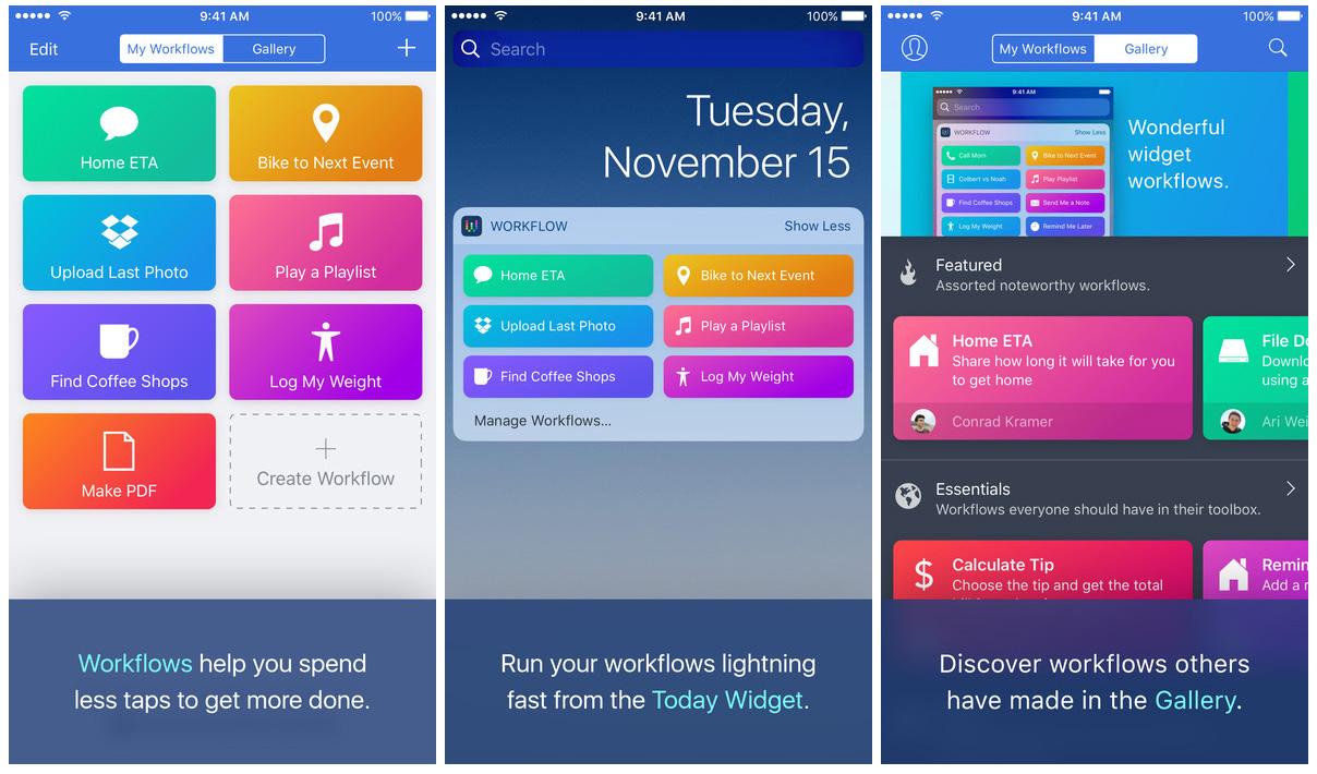 Workflow iOS productivity app