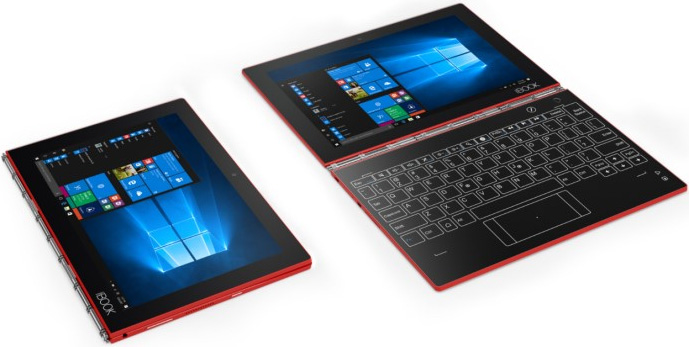 red version of Lenovo Yoga Book tablet