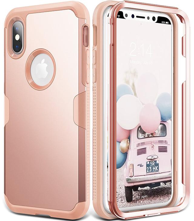 YOUMAKER Rose Gold Full Body iPhone X Case