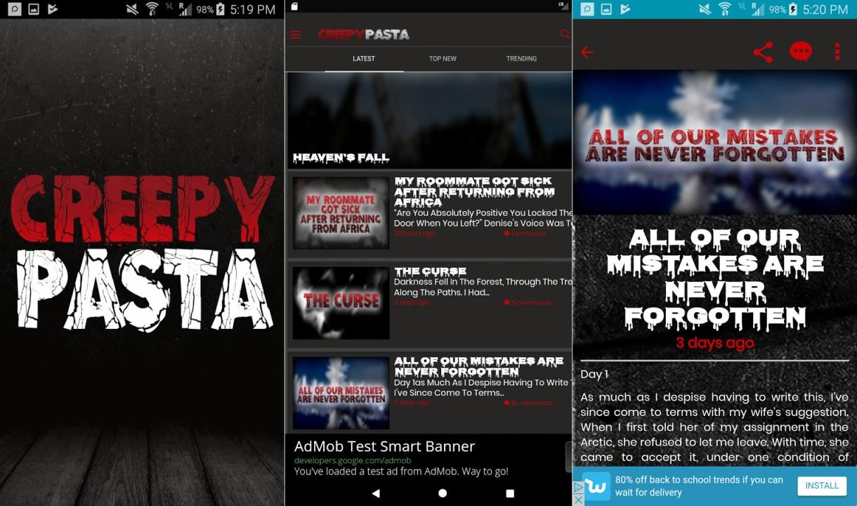 Creepypasta Android app screenshots