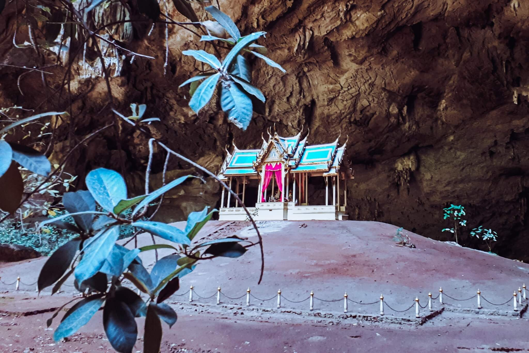a shrine built inside of a cave in hua hin town, located in the south of thailand.
