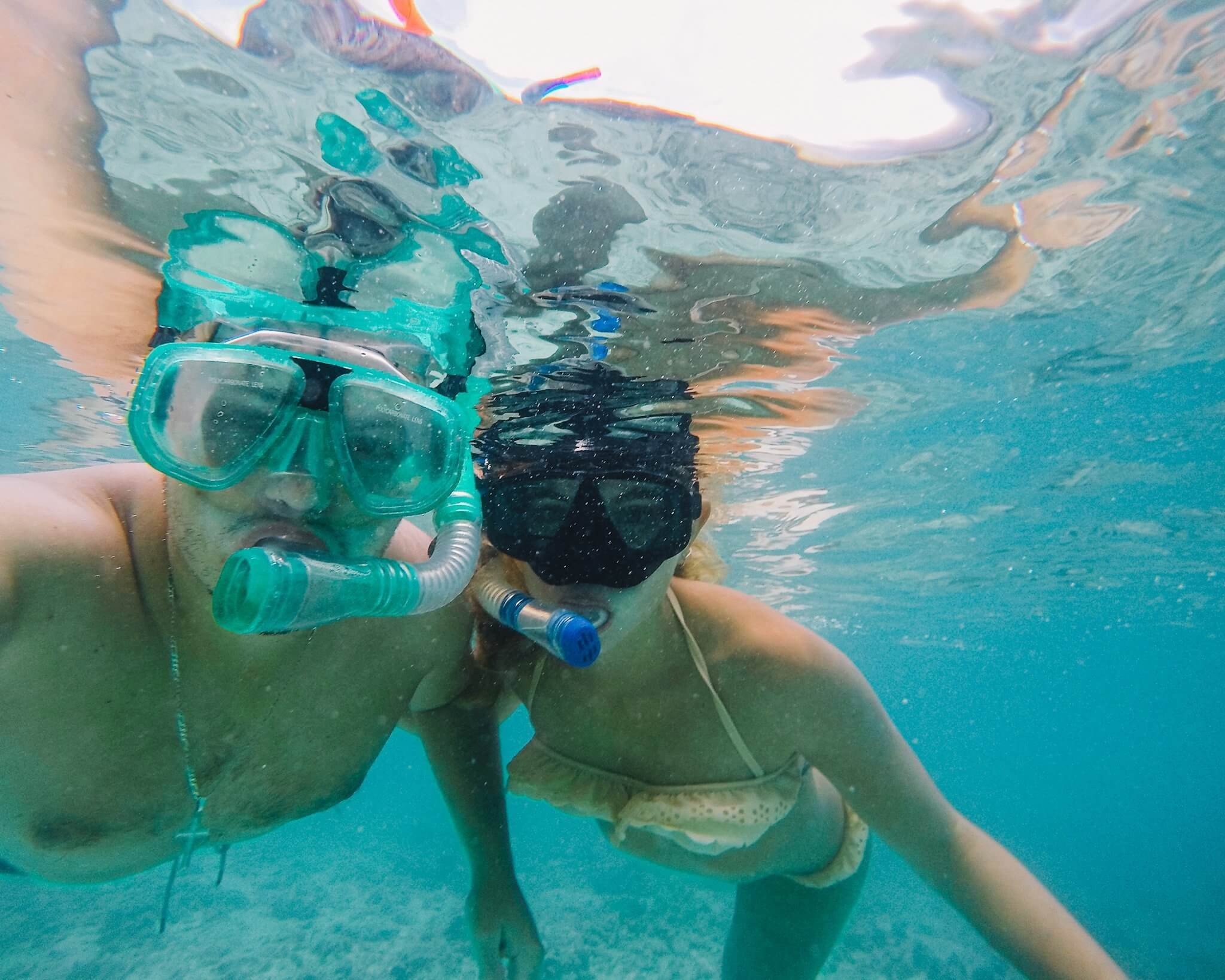 Chane and Jonathan snorkeling at Koh Tao island in Thailand