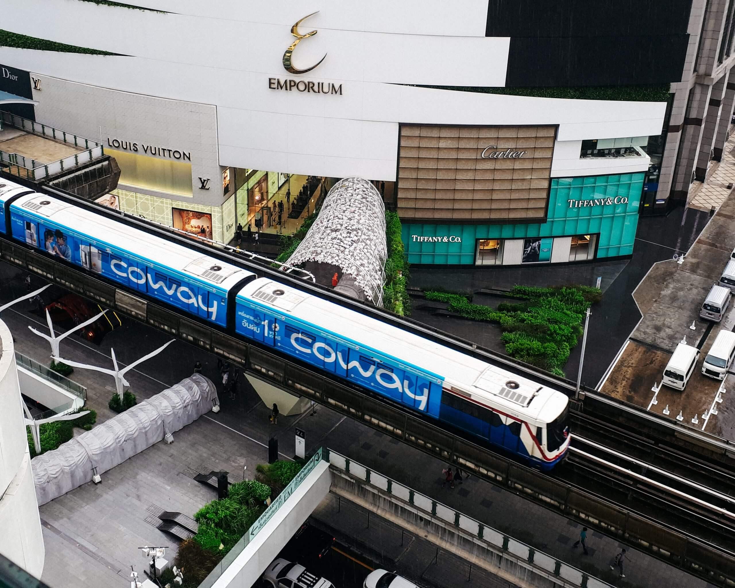 The BTS skytrain as transport in Bangkok Thailand