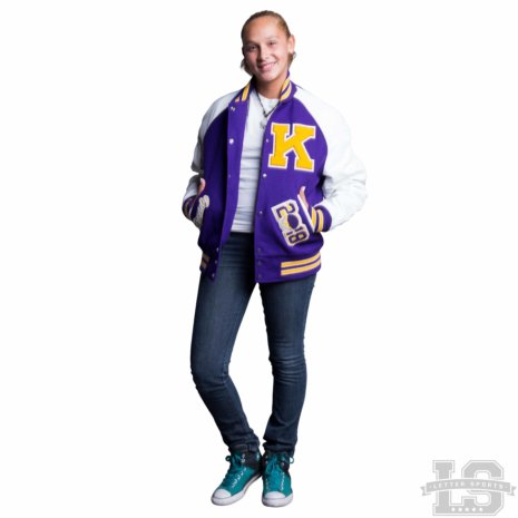 White Leather & Violet Purple Wool Varsity Letter Jacket