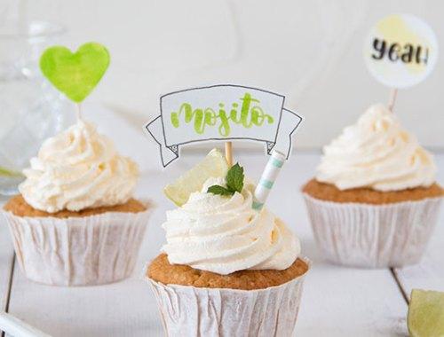 Handlettering Cupcake Topper Zum Thema Mojito