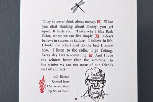 Bill Roman quote in Life Up North letterpress broadside