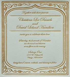 Foil stamped invitation
