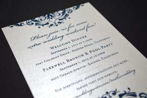 Thermography printed wedding invitation.