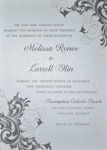 Thermography wedding invitation