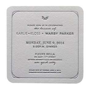 Die cut wedding invitation.