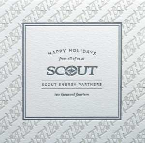 Letterpress printed corporate Holiday card.