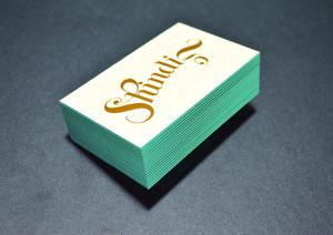 Foil stamped and edge colored business card.
