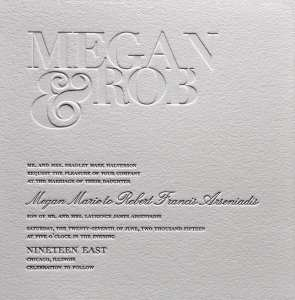 Letterpress printed wedding invitation.