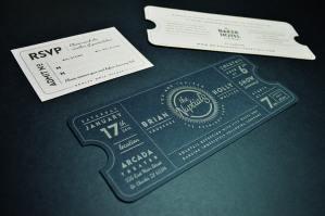 Ticket shaped invitation suite