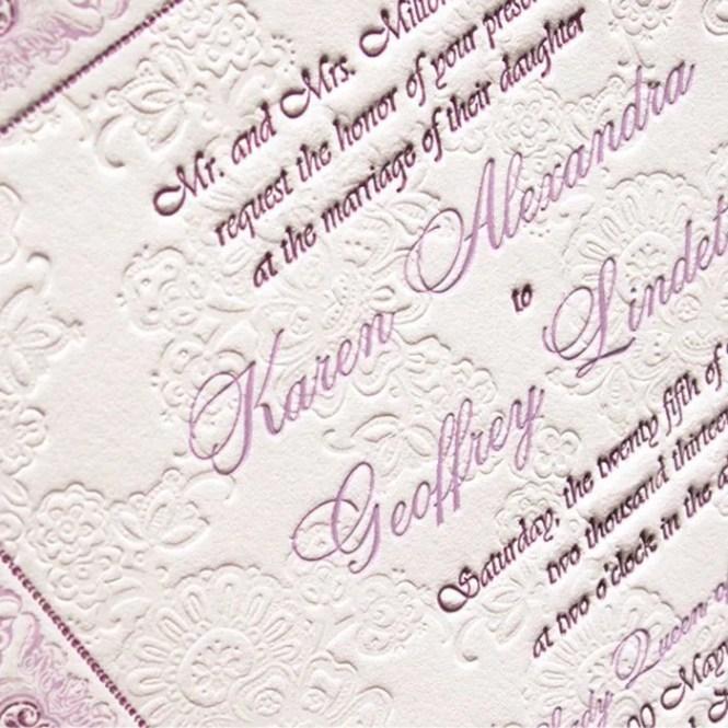 Order Luxury Letterpress Wedding Invite Samples