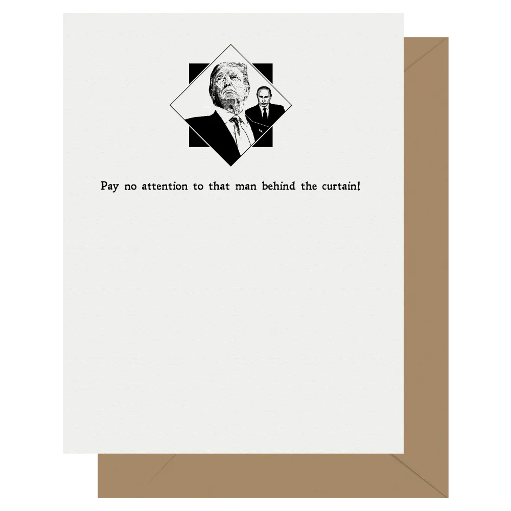 pay no attention to that man behind the curtain wizard of oz trump potus letterpress greeting card